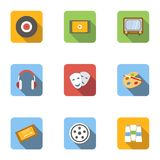 Kind of art icons set, flat style. Kind of art icons set. Flat illustration of 9 kind of art vector icons for web Stock Images
