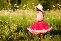 Kind auf einem Blumengebiet Stockfotografie
