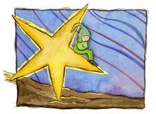 Kind auf einem Stern Stockbild
