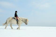 Kind auf Pferd Stockbild