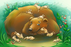 Kind bear with the little rabbits Royalty Free Stock Photography