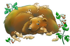 Kind bear with the little rabbits Royalty Free Stock Images
