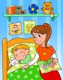 Kind am Bett mit Mamma Stockbild