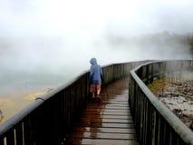 Kind bij hete thermische pools Nieuw Zeeland stock afbeeldingen