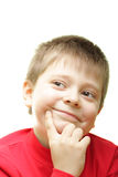 Kind boy. Portrait of kind smiling boy isolated over white Stock Photos