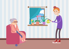 Kind boy helps old woman to water the flowers. Cute flat illustration Royalty Free Stock Image