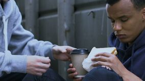 Kind boy sharing tasty sandwich and warm coffee with gamin, human compassion
