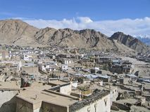 Kind on capital Leh and mountains surrounding it. Royalty Free Stock Images