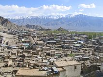 Kind on capital Leh and mountains surrounding it. Stock Photos