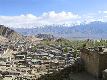 Kind on capital Leh and mountains surrounding it. Stock Photography