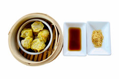 Kind of Chinese snacks steamed dumplings with Sauce and seasonin Royalty Free Stock Photography