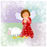 Kind Christmas illustration with little angel and Royalty Free Stock Images