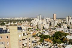 Kind on city. Panorama northern Tel Aviv from a window in the city of Ramat Gan in Israel Stock Photos