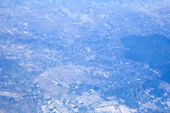 Kind on a city from an airplane Royalty Free Stock Image