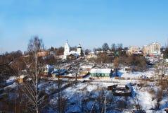 Kind on a city and a temple. Kind on a city and Pokrova Presvjatoj Bogoroditsy\'s temple the city of Ruza Russia winter Stock Images