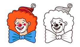 The kind clown smiles. color and black and white version. vector illustration