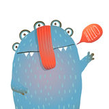Kind and Cute Funny Monster Saying Hello Waving Stock Photo