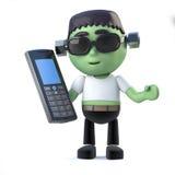 Kind-3d frankenstein Monster hat einen Handy Lizenzfreie Stockfotografie