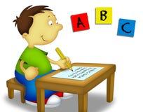 Kind, das 1 studiert lizenzfreie abbildung