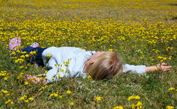 Kind, das auf dem Blumengebiet liegt Stockfotografie