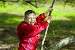 Kind, das auf einem Baum sitzt stockbild
