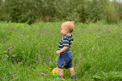 Kind, das auf Feld steht Lizenzfreie Stockfotografie
