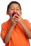 Kind, das auf großem Apple beißt Lizenzfreie Stockbilder