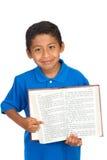Kind, das auf Vers auf Wort Gottes zeigt Lizenzfreies Stockbild