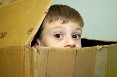 Kind, das aus einem Karton heraus späht Lizenzfreie Stockfotos