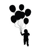 Kind, das Ballonvektorschattenbild im Schwarzen hält Stockbilder