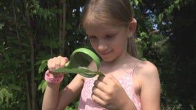 Kind, das Caterpillar durch das Vergrößerungsglas im Freien in der Natur, Schulmädchen-Spielen studiert stockfotos