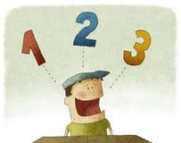Kind, das drei Zahlen zählt Stockfoto
