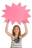Kind, das ein unbelegtes Zeichen anhält Lizenzfreie Stockfotografie