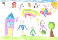 Kind, das eine glückliche Familie zeichnet Stockbild