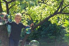 Kind, das in einem Baum spielt Stockfotos