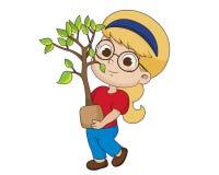 Kind, das einen Baum pflanzt stock abbildung