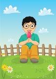 Kind, das Eiscreme Vektor-Illustration isst stock abbildung