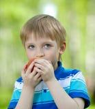 Kind, das gesunden Nahrungsmittelapfel im Freien anhält Lizenzfreie Stockfotografie