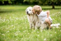 Kind, das golden retriever-Hund küsst stockfotografie