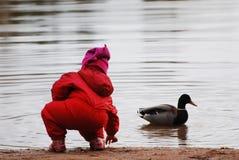 Kind, das mit einer Ente spielt Stockfotografie