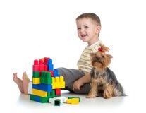 Kind, das mit Gebäudespielwaren spielt. York-Terrierhundesitzen. Lizenzfreie Stockbilder