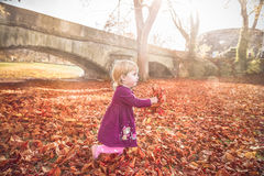Kind, das mit Herbstlaub in den Händen läuft Stockfotos