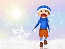 Kind, das mit Schnee spielt vektor abbildung