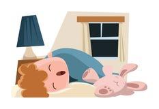 Kind, das mit seiner Häschenillustrationszeichentrickfilm-figur schläft Lizenzfreies Stockbild