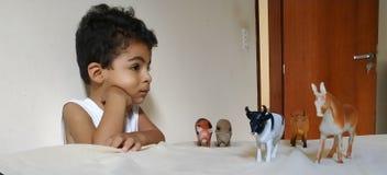 Kind, das mit Tieren spielt stockfotografie