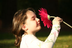 Kind, das unschuldig eine Blume riecht Lizenzfreie Stockbilder