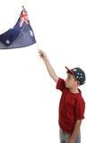 Kind dat Australische vlag golft Royalty-vrije Stock Foto's
