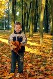 Kind dat de herfstbladeren werpt Stock Foto's