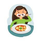 Kind dat gezond voedsel eet royalty-vrije illustratie