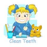 Kind dat haar tanden borstelt Stock Fotografie